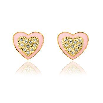 Brinco Coração Folheado Ouro 18K com Micro Zircônia Cristal e Resina Rosa