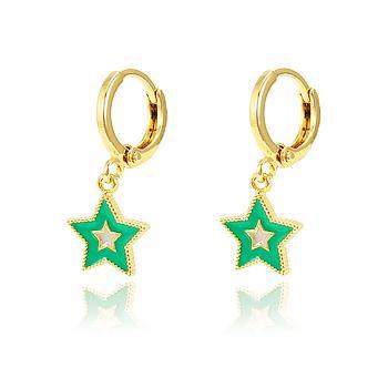 Brinco Argola Estrela Folheado Ouro 18K com Resina Verde