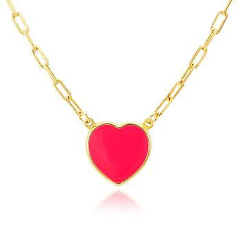 Colar Folheado Ouro 18K Coração com Resina Vermelha