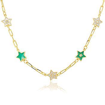 Colar Choker Folheado Ouro 18K com 5 Estrelas e Resina Branca e Verde