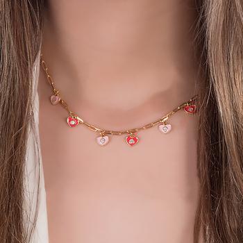 Colar Folheado Ouro 18K Corações com Zircônia Cristal e Resina Rosa e Vermelha
