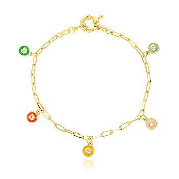 Pulseira Folheada Ouro 18K Pingente Redondo com Zircônia Cristal e Resina Colorida
