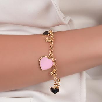 Pulseira Folheada Ouro 18K Corações com Micro Zircônia Cristal e Resina Preta e Rosa