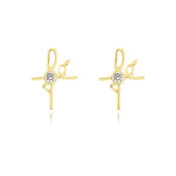 Brinco Fé em Forma de Cruz Folheado Ouro 18K com Zircônia Cristal
