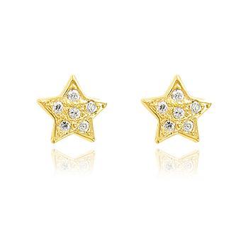 Brinco Estrela Folheado Ouro 18K com Zircônia Cristal