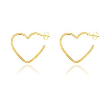 Brinco Meia Argola Coração Folheado Ouro 18K