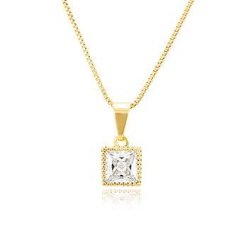Colar Folheado Ouro 18K com Pingente Quadrado e Zircônia Cristal