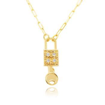 Colar Folheado Ouro 18K com Pingente Chave e Cadeado e Zircônia Cristal