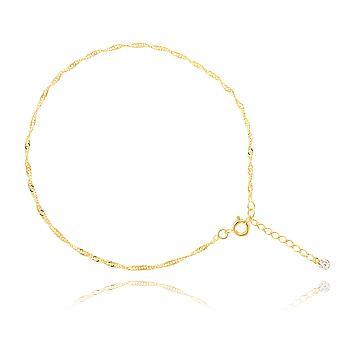 Tornozeleira Folheada Ouro 18K com Corrente Singapura e Ponto de Luz Cristal