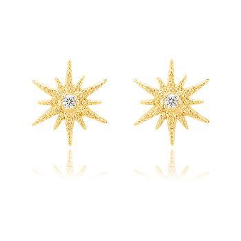 Brinco Estrela Folheado Ouro 18K com Strass Cristal