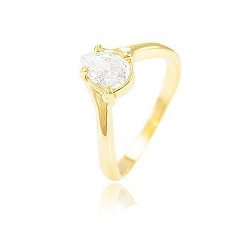 Anel Folheado Ouro 18K com Gota Zircônia Cristal