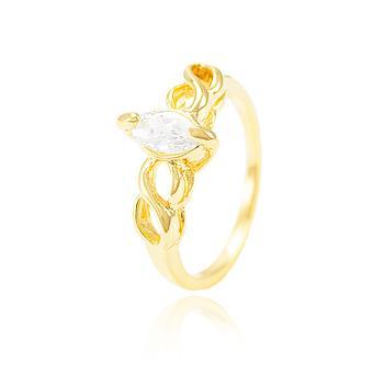 Anel Folheado Ouro 18K Detalhado com Zircônia Navete Cristal