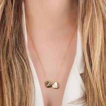 Colar Folheado Ouro 18K Coração com Letras Fé e Micro Zircônia Cristal