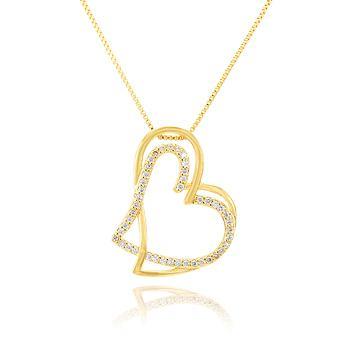 Colar Folheado Ouro 18K com Coração Duplo Vazado e Micro Zircônia Cristal
