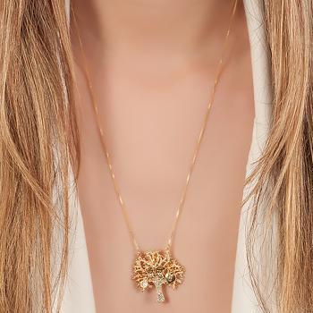Colar Folheado Ouro 18K Pingente de Árvore com Menino e Menina, Ponto de Luz e Cadeado Coração
