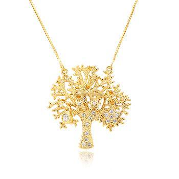 Colar Folheado Ouro 18K Pingente de Árvore com 2 Meninos, Ponto de Luz e Estrela