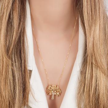 Colar Folheado Ouro 18K Pingente de Árvore com 2 Meninas, Coração e Flor
