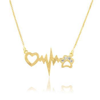 Colar Folheado Ouro 18K Coração com Batimento Cardíaco e Pata de Cachorro