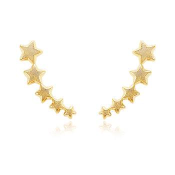 Brinco Ear Cuff Folheado Ouro 18K com 5 Estrelas