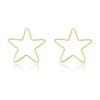 Brinco Estrela Vazado Folheado Ouro 18K