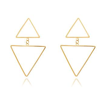 Brinco Triangulo Duplo Vazado Folheado Ouro 18K
