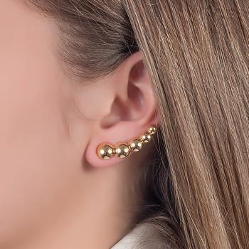 Brinco Ear Cuff Folheado Ouro 18K com 5 Bolinhas