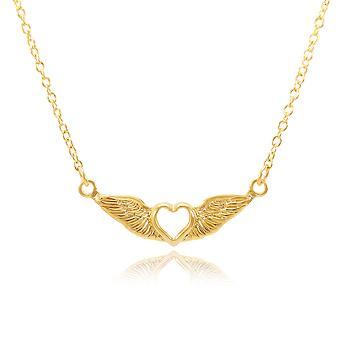 Colar Folheado Ouro 18K Coração com Asas