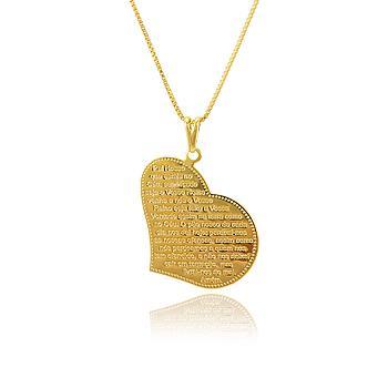 Colar Folheado Ouro 18K Coração com Oração do Pai Nosso