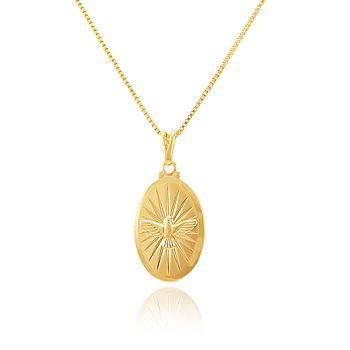 Colar Folheado Ouro 18K com Medalha Espirito Santo