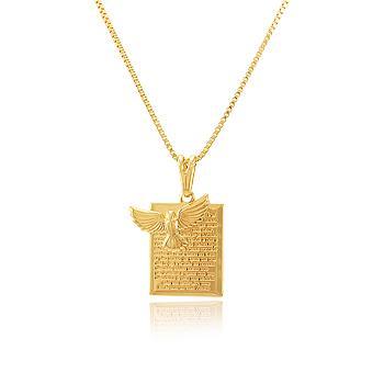 Colar Folheado Ouro 18K Plaquinha Pai Nosso com Espirito Santo