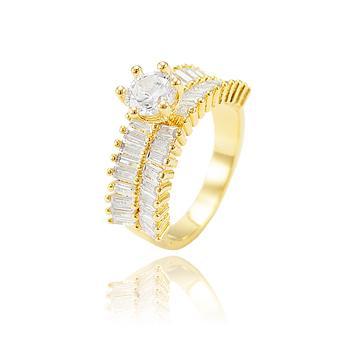 Anel Folheado Ouro 18K com Fileira Dupla de Zircônia Baguete Cristal e Ponto de Luz