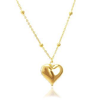 Colar Folheado Ouro 18K com Pingente Coração Liso e Corrente com Bolinhas