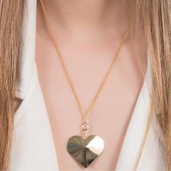 Colar Folheado Ouro 18K com Pingente de Coração Liso e Ponto de Luz