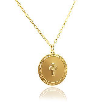 Colar Folheado Ouro 18K Medalha com Cruz e Oração do Pai Nosso
