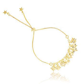 Pulseira Folheada Ouro 18K com Estrelas Penduradas