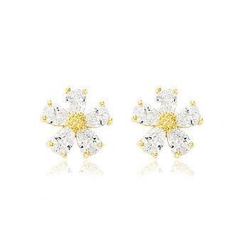 Brinco Flor Folheado Ouro 18K com Zircônia Cristal
