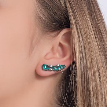 Brinco Ear Cuff Folheado Ródio Negro com Gotas Cristal Turmalina Verde
