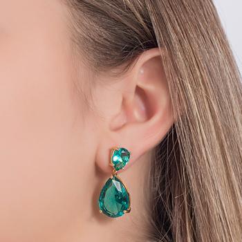 Brinco Gotas Folheado Ouro 18K com Cristal Turmalina Verde