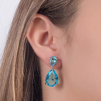 Brinco Gotas Folheado Ródio com Cristal Aquamarine