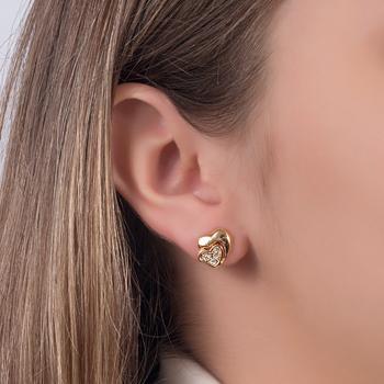 Brinco Coração Folheado Ouro 18K com Detalhe de Zircônia Cristal