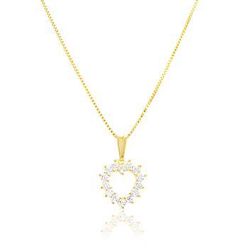 Colar Folheado Ouro 18K com Pingente Coração Vazado e Micro Zircônia Cristal