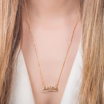 Colar Folheado Ouro 18K Love com Coração e Micro Zircônia Cristal