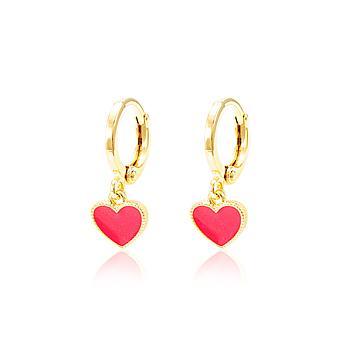 Brinco Argola Folheado Ouro 18K Coração com Resina Rosa