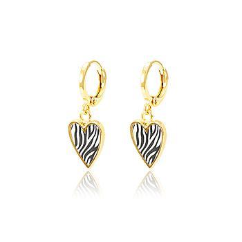 Brinco Argola Folheado Ouro 18K com Coração Animal Print Zebra