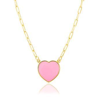 Colar Cartier Folheado Ouro 18K Coração com Resina Rosa