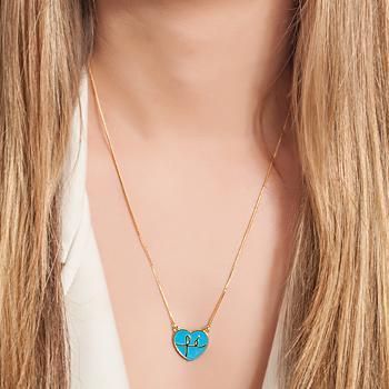 Colar Folheado Ouro 18K Coração Fé com Resina Azul