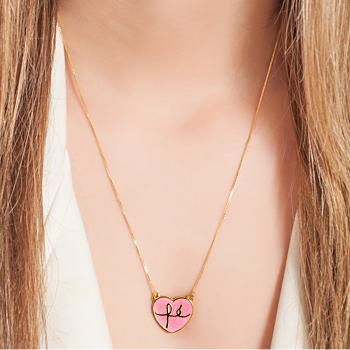 Colar Folheado Ouro 18K Coração Fé com Resina Rosa