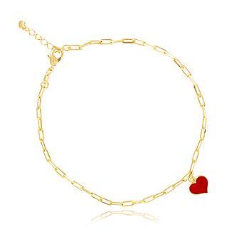 Tornozeleira Cartier Folheado Ouro 18K Coração com Resina Vermelha