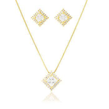 Conjunto Quadrado Folheado Ouro 18K com Zircônia Cristal