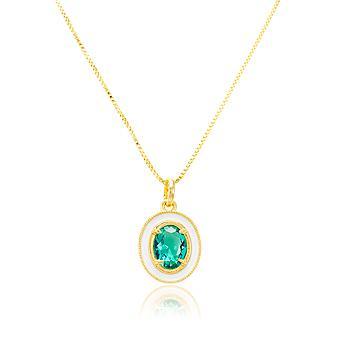 Colar Oval Folheado Ouro 18K com Resina Branca e Zircônia Esmeralda